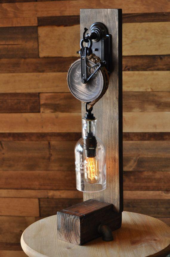 Steampunk Desk Lamp With A Cut Bottle