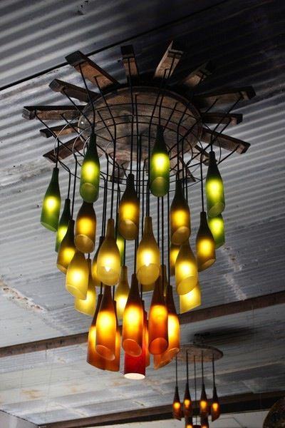 Steampunk bottle chandelier