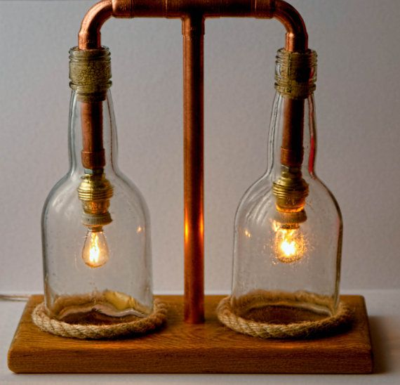 Cut bottles and copper steampunk lamp