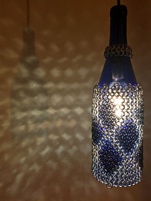 hanging bottle lamp with chain maille