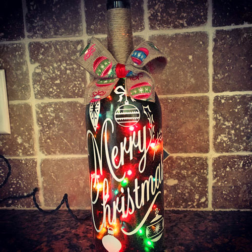 Merry Christmas Bottle With Lights