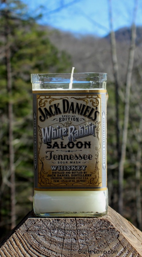 Candle made from Jack Daniel's bottle.
