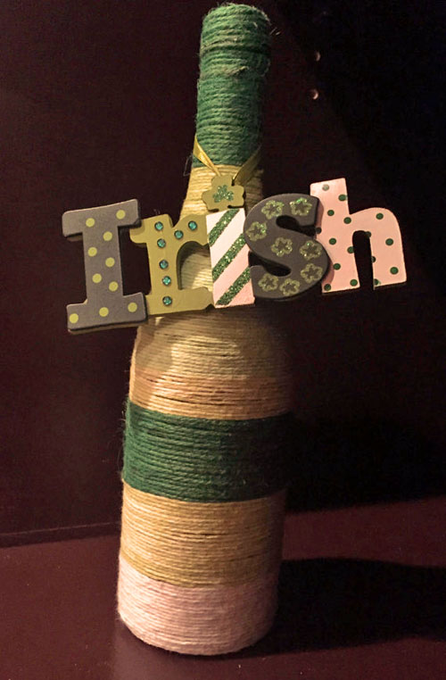 Irish bottle for St. Patrick's Day decor