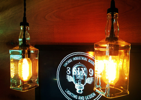 Whiskey Bottle Pendant Light