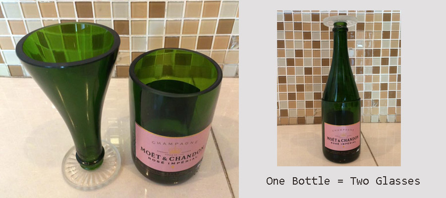 Bottle glasses made from recycled Champagne bottle