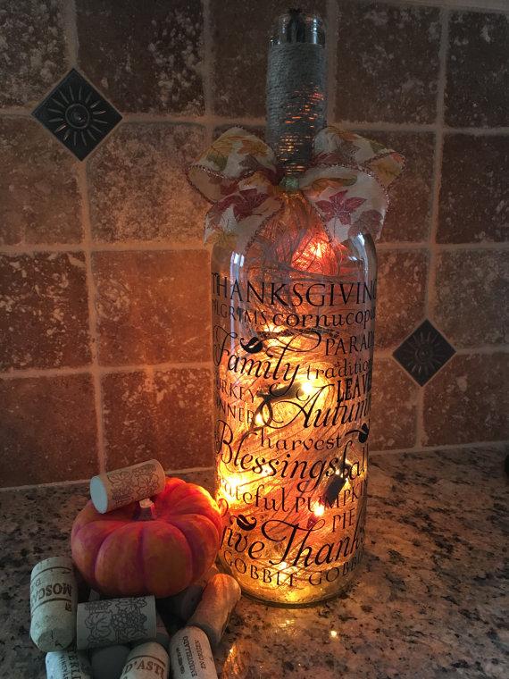 Fall Wine Bottle Lamp
