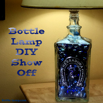 Blue recycled bottle turned into a cool lamp