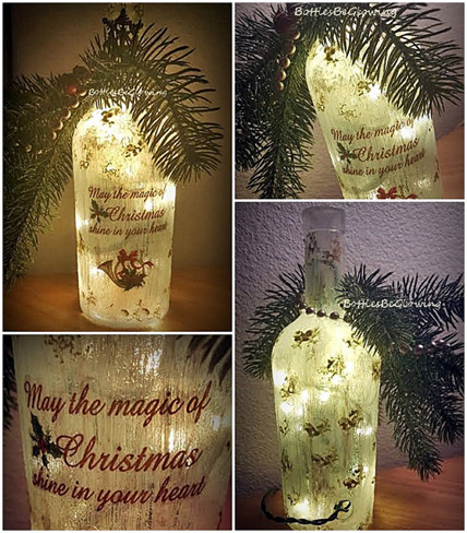 Lighted Christmas bottle by bottlesbeglowing