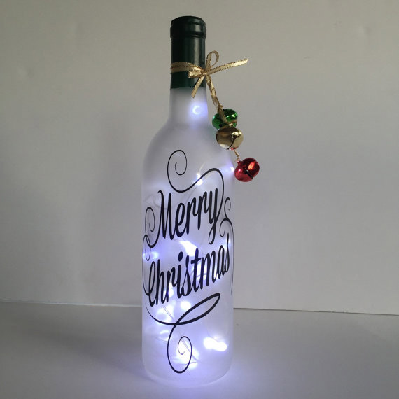 Merry Christmas lighted bottle by wicksandwine