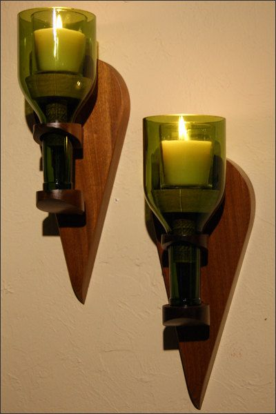 2 cut bottle sconces