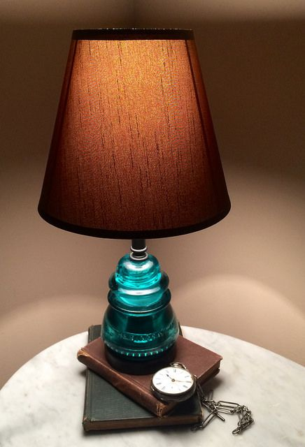 Make a table lamp from glass insulator