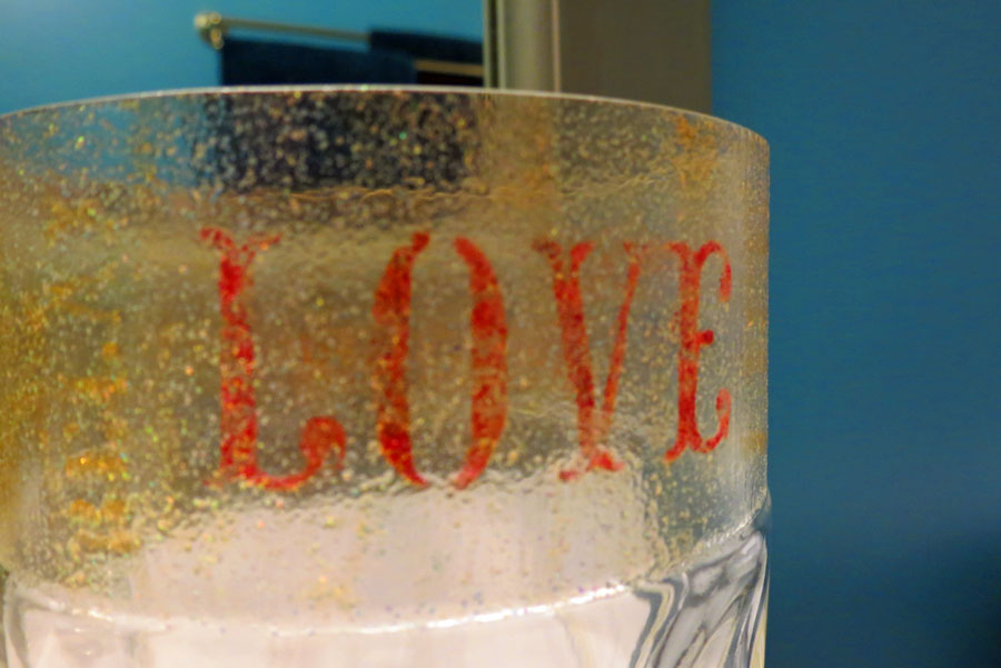 Glass Bottle Stencil Painting
