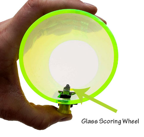 Cyclone bottle cutting scoring wheel