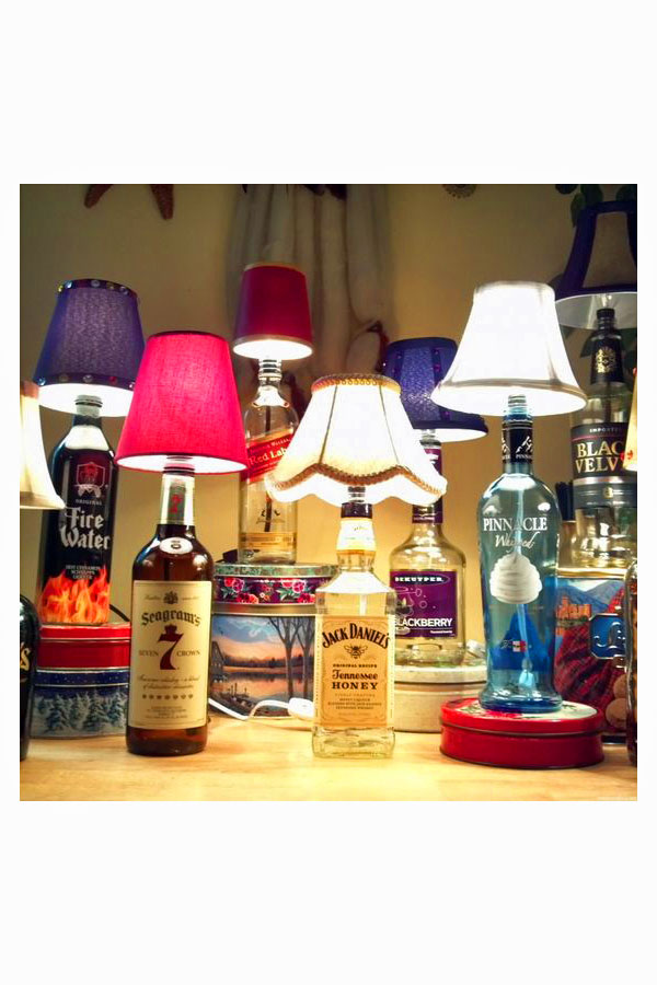 Collection of handmade bottle lamps