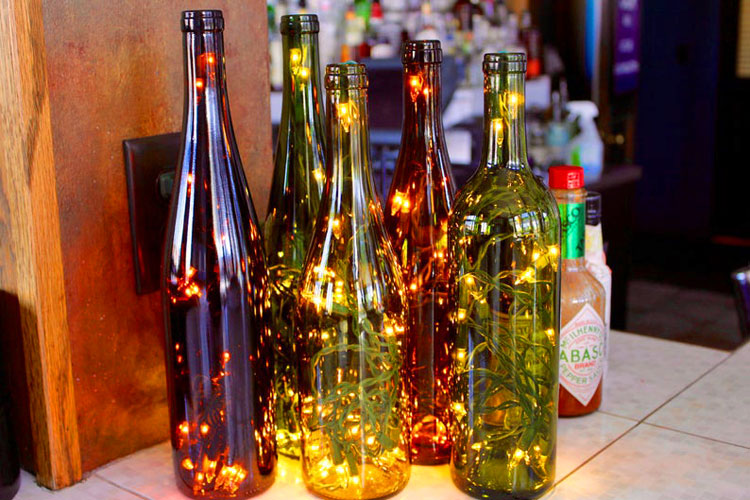 Assorted lighted bottles