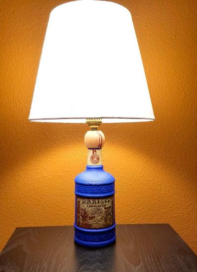 Blue Liquor Bottle Lamp