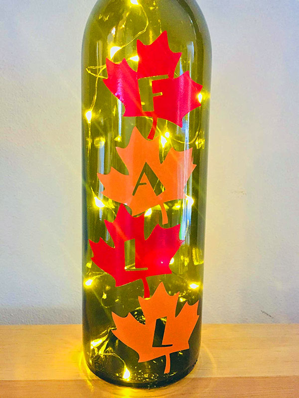 Fall themed leaves bottle lamp