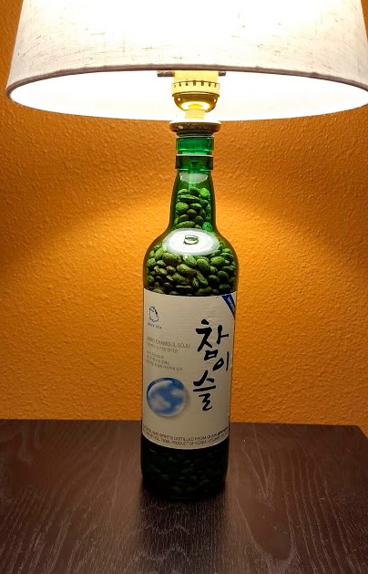 Green Wine Bottle Lamp