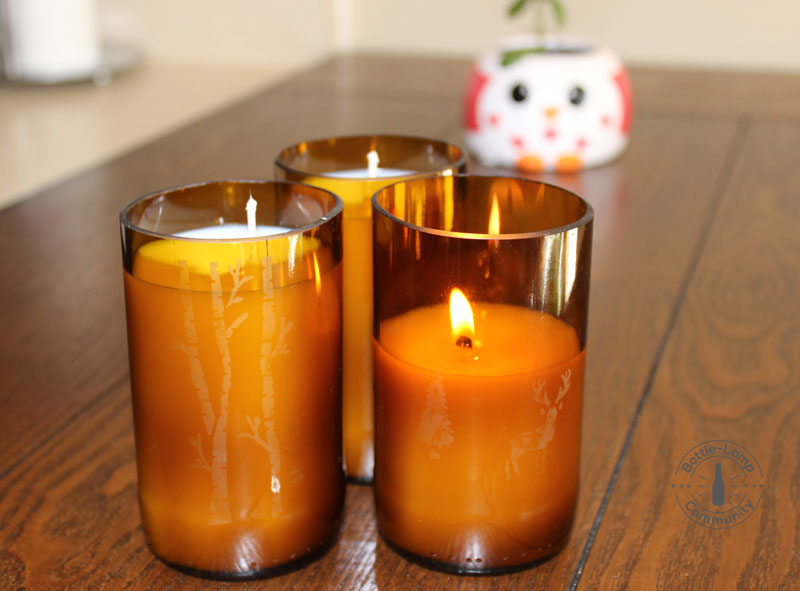 Scented beer bottle candles with glass etching